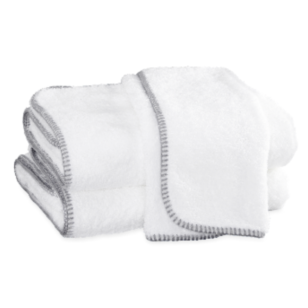 Whipstitch Towel Collection, White/Nickel