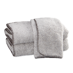 Whipstitch Towel Collection, Pearl/Charcoal