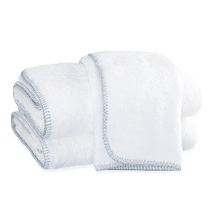 Whipstitch Towel Collection, White/Sterling