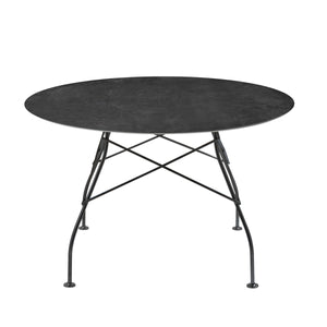 Glossy Marble Round Table, Black Marble