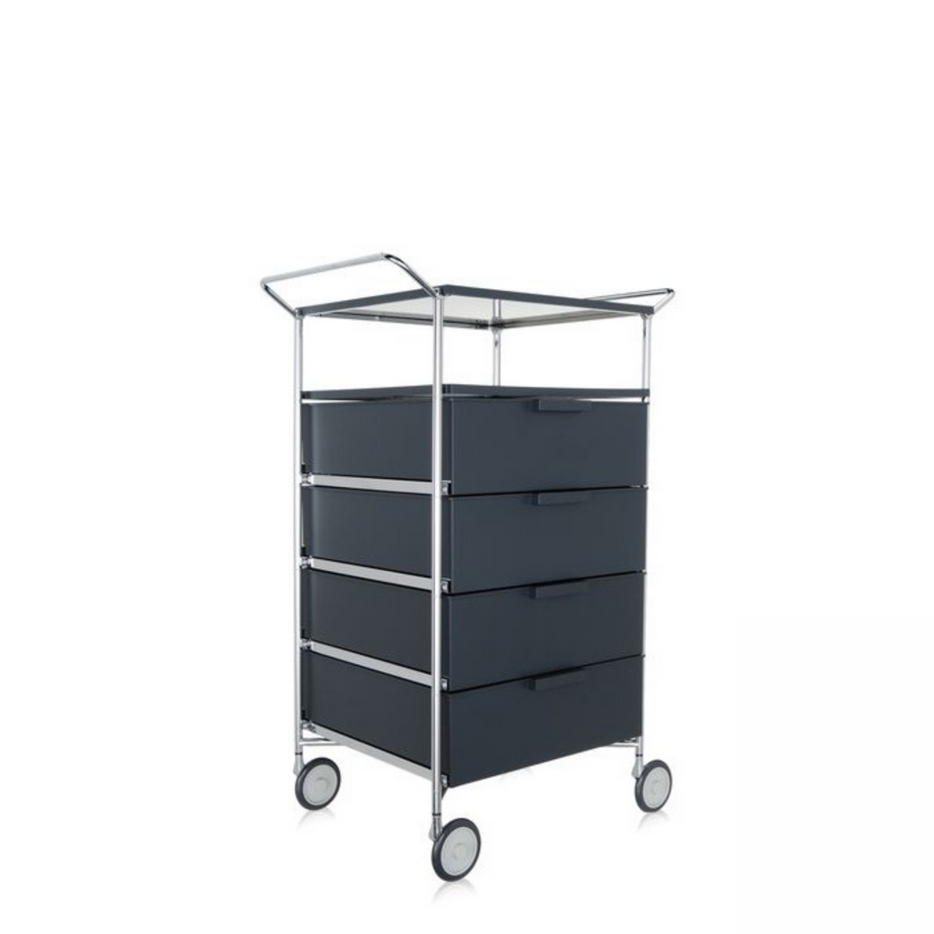 MOBIL Three-Drawer Unit with Open Shelf, Opaque Slate