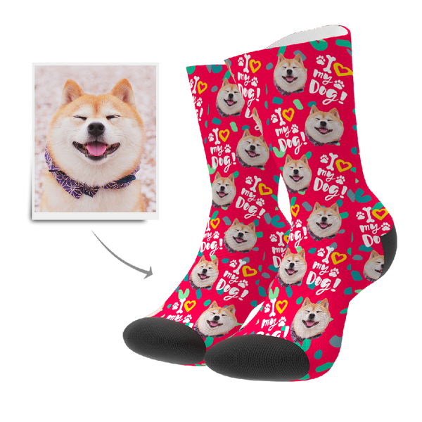 Custom Love Dog Socks - MyPhotoSocks