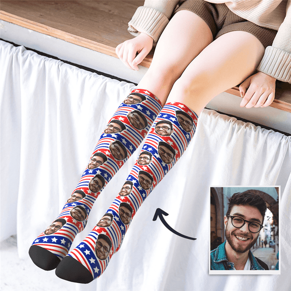 Custom Photo Knee High US Flag Socks - MyPhotoSocks