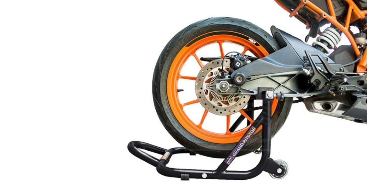 motorcycle on paddock stand