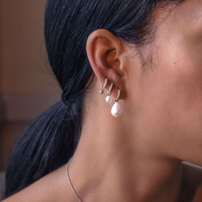 Small White Diamond Story Hoops + Round Pearl Drops