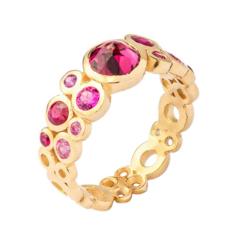 18ct Yellow Gold Statement Hot Pink Cascade Ring - 1.40CT (Size N)