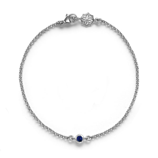 Single Sapphire Dew Chain Bracelet - 0.06CT