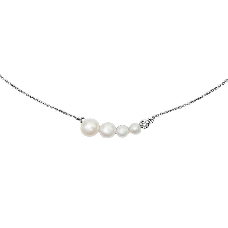 Graduated White Pearl & Diamond Pendant - 0.05CT