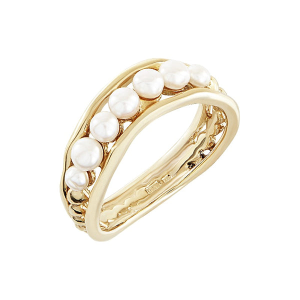 9ct Gold & Pearl Waterfall Ring