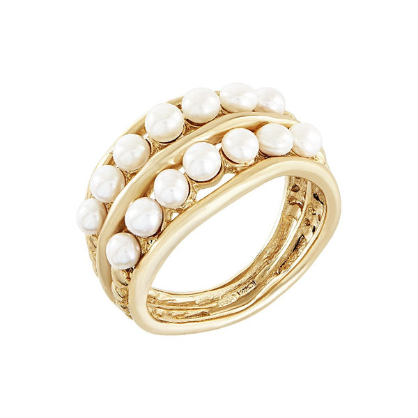 9ct Gold Waterfall  Pearl Double  Ring