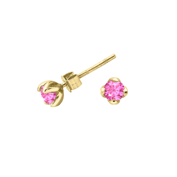 Pink Tourmaline Lotus Studs - 0.50CT