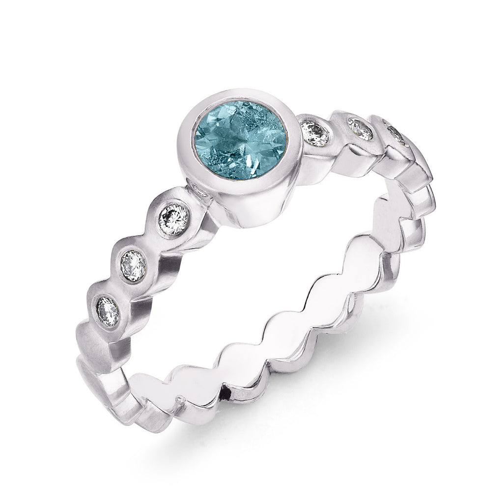 Aquamarine & Diamond Dotty Engagement Ring - 0.40CT