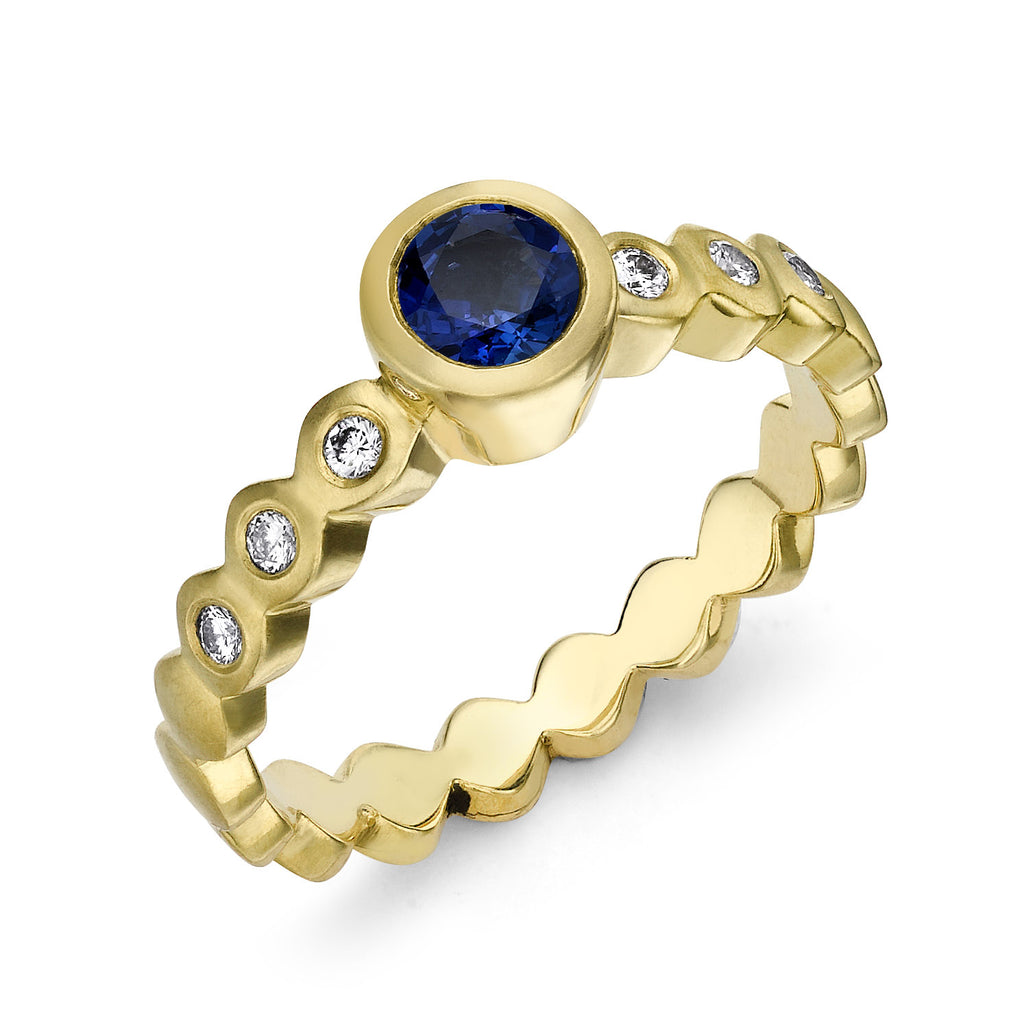 Sapphire & Diamond Dotty Engagement Ring - 0.40CT