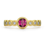 Tourmaline & Diamond Dotty Engagement Ring - 0.40CT