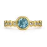 Aquamarine & Diamond Dotty Engagement Ring - 0.75CT