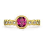 Tourmaline & Diamond Dotty Engagement Ring - 0.75CT