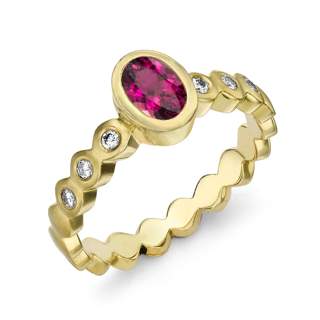 Oval Pink Tourmaline Dotty Ring