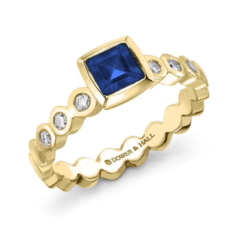 Sapphire & Diamond Cushion Dotty Ring