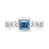 Aquamarine & Diamond Dotty Cushion Ring - 1.00CT