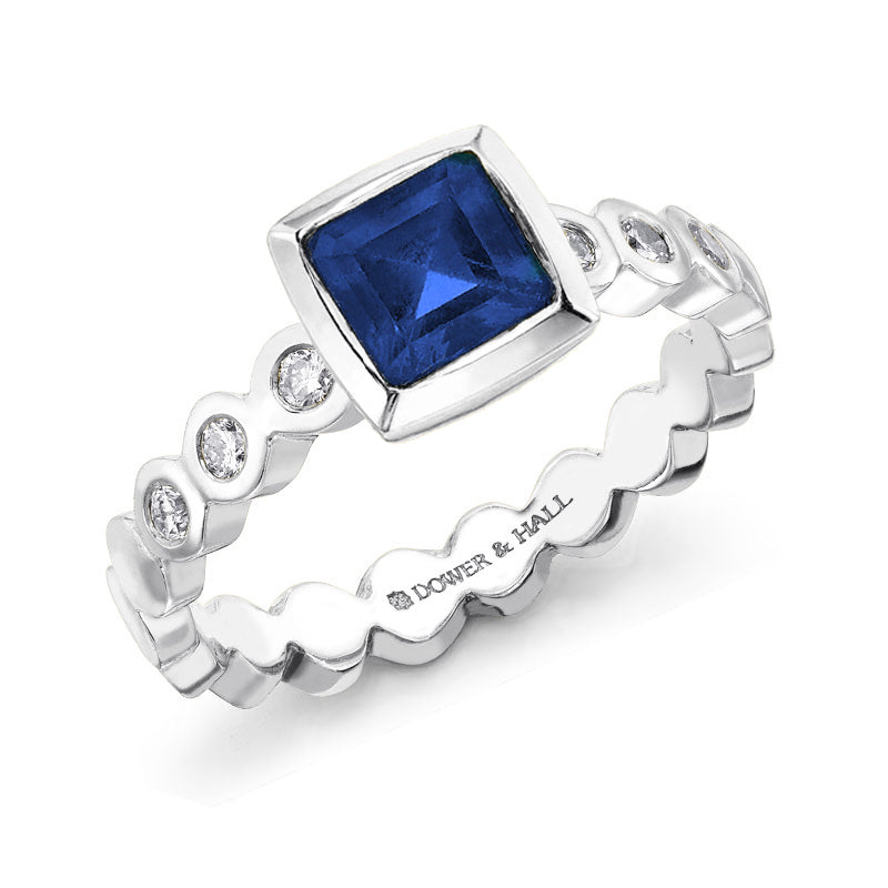 Sapphire & Diamond Cushion Dotty Ring - 1.00CT
