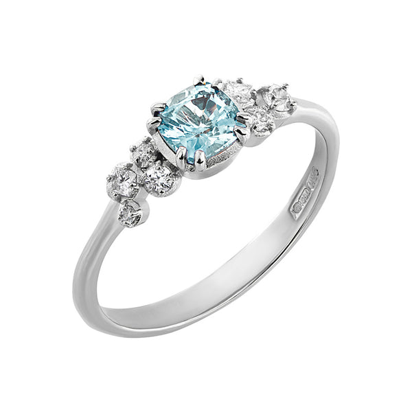 Cushion Aquamarine & Diamond Stargazer Ring - 0.50CT