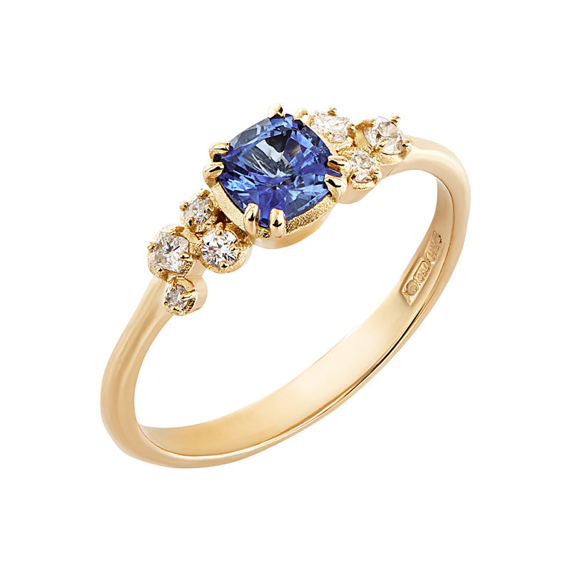 Cushion Sapphire & Diamond Stargazer Ring - 0.55CT