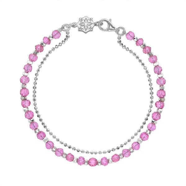 Pink Tourmaline Faceted Bead Orissa Bracelet