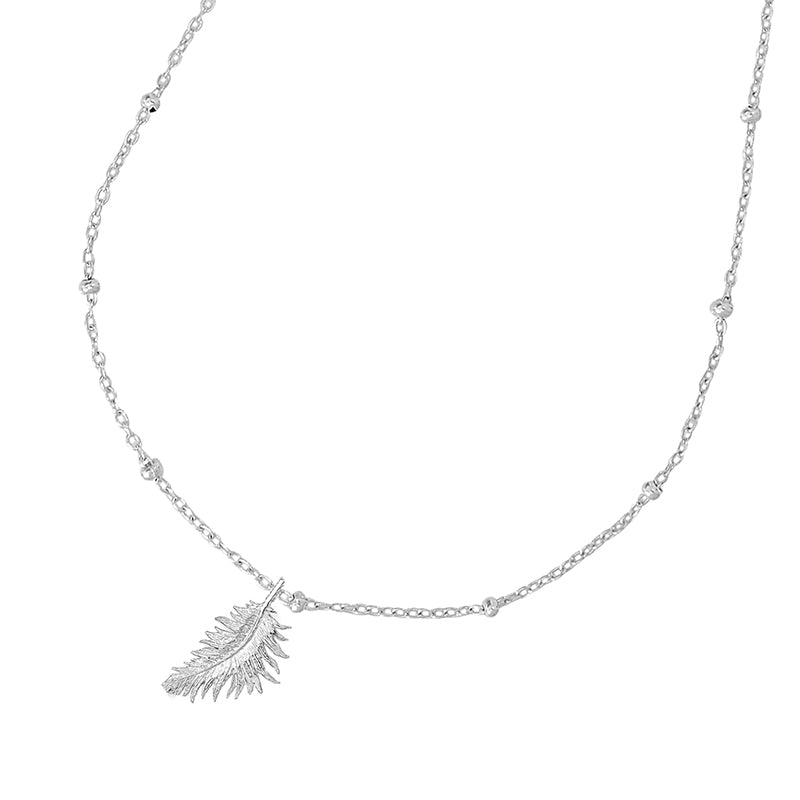 Adjustable Chain & Feather Pendant