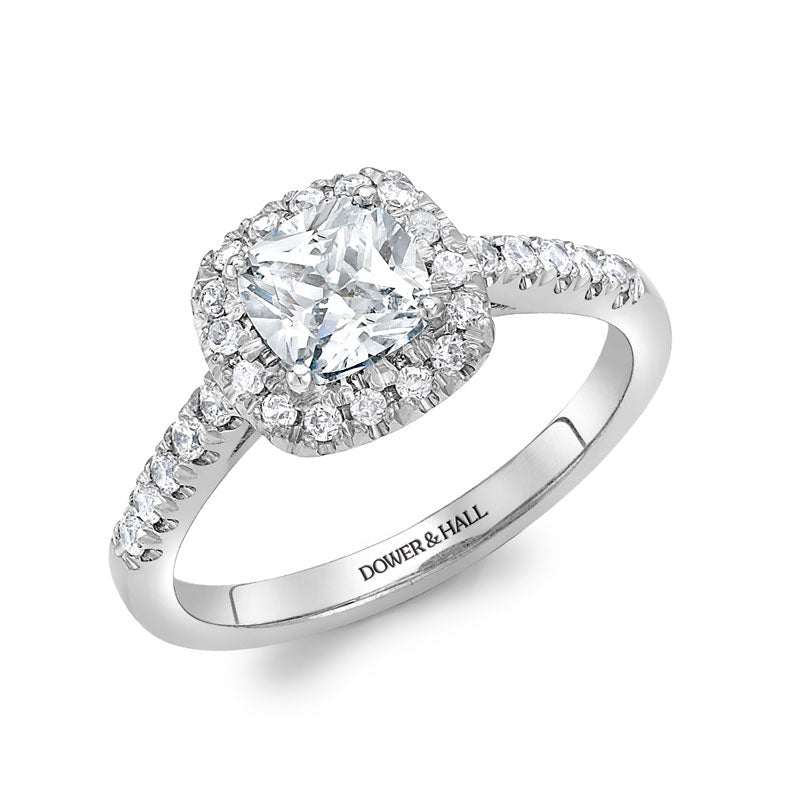 Halo Cushion Engagement Ring - 1.00CT