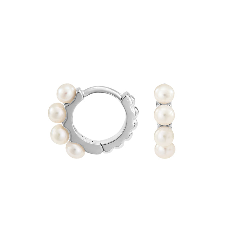 Small Timeless Pearl Huggie Hoops
