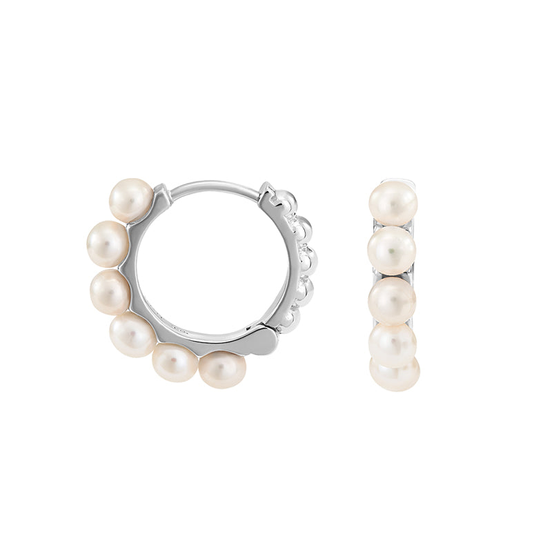 Medium Timeless  Pearl Huggie Hoops