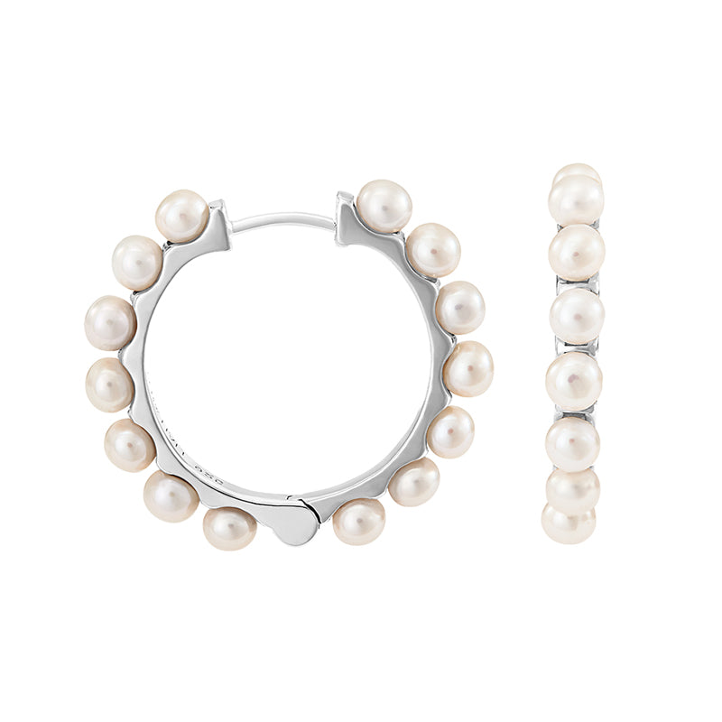 Large Timeless Pearl Huggie Hoops