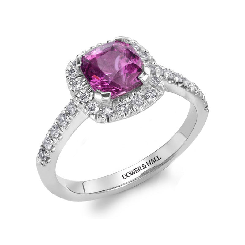 Halo Pink Sapphire Engagement Ring - 1.00CT