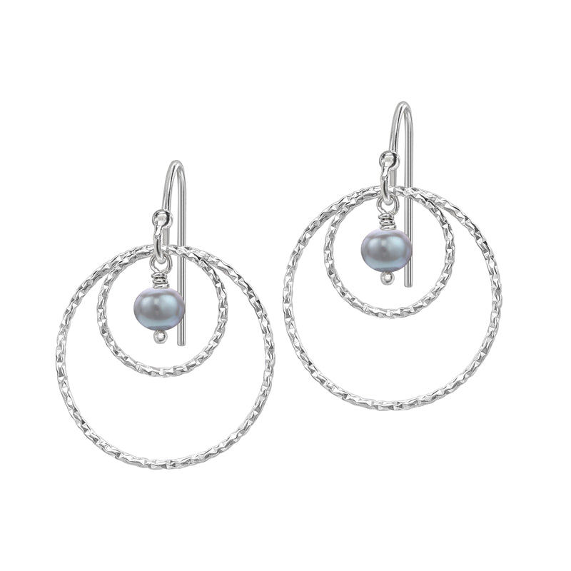 Double Circle & Dove Grey Pearl Drop Earrings