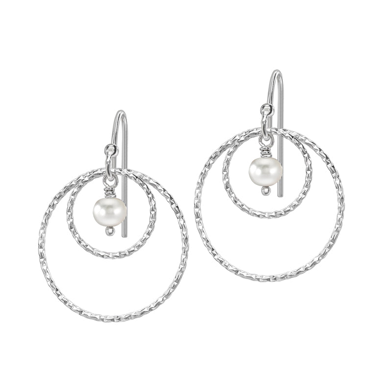 Double Circle & White Pearl Drop Earrings