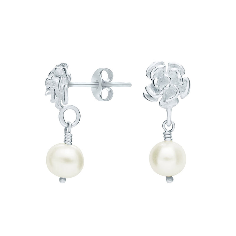 Flower & White Pearl Drop Earrings
