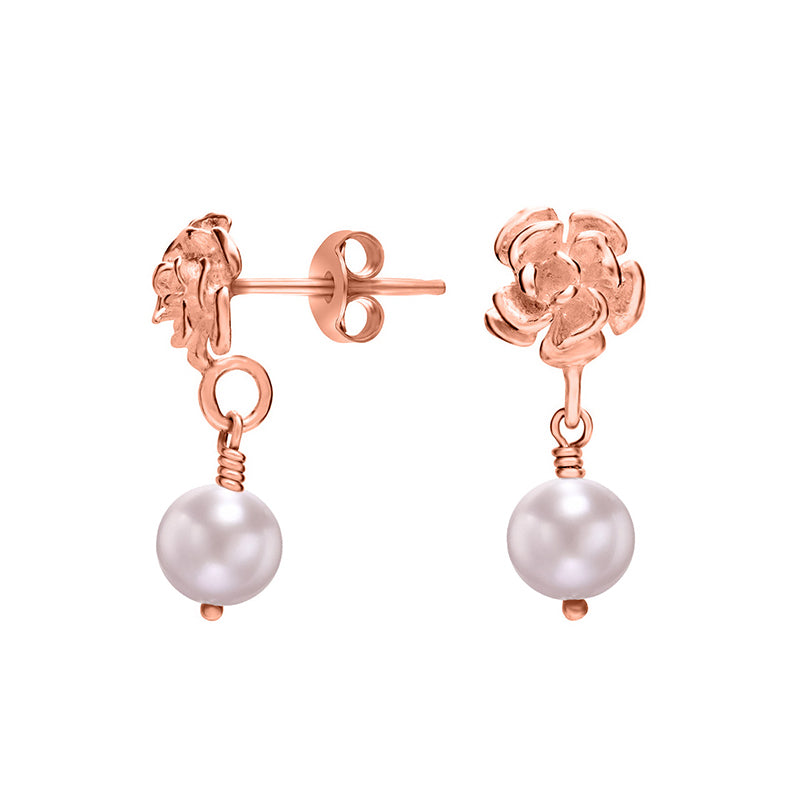Flower & Pink Pearl Drop Earrings