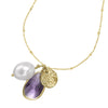 Amethyst & White Pearl Extendable Jewel Pendant