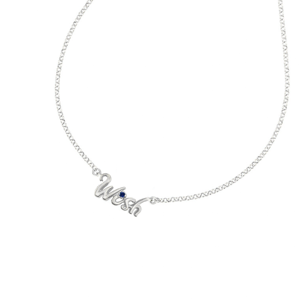 'Wish' Luscious Letters Pendant with Blue sapphire