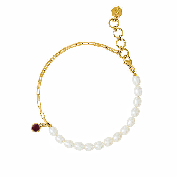 Luna White Pearl, Chain and garnet drop Bracelet