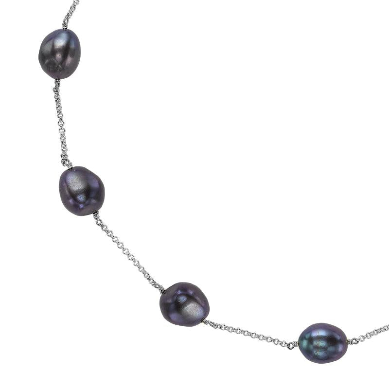 Peacock Baroque Pearl Chain Necklace