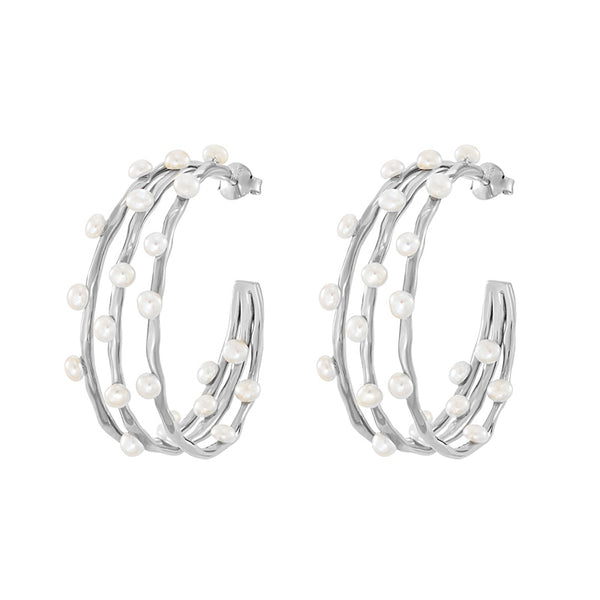 Triple Row Waterfall Pearl Hoops