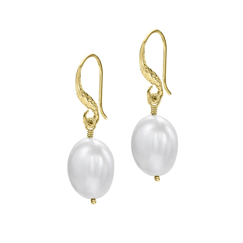 White Baroque Pearl Drop Earrings