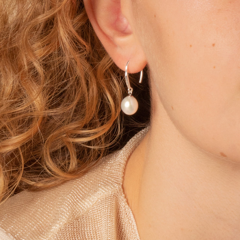 8mm Oval White Luna Pearl Drop Earrings