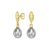 Hammered Marquise & Dove Grey Freshwater Pearl Drop Earrings