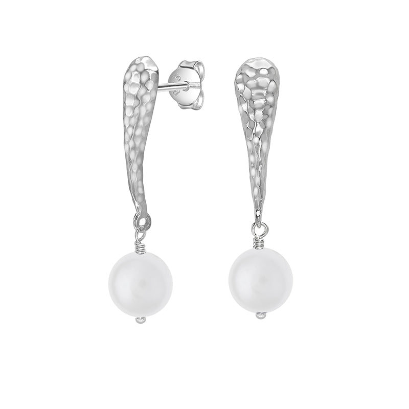 10mm White Freshwater Pearl Teardrop Drop Earrings