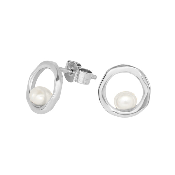 Open Circle & White Pearl Waterfall Earrings