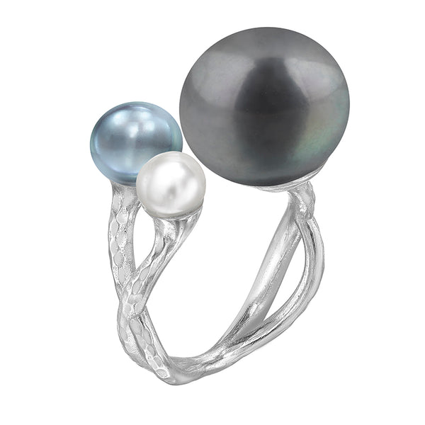 Statement Mixed Triple Freshwater Pearl Ring