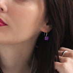 8mm Amethyst Claw-Set Twinkle Drop Earrings