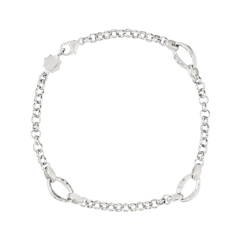 Men's Bracelet with three Hammered oval links